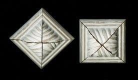 Internet-knoop Viervlakkige vierkante decoratieve rozet van houten ontwerpende stroken Royalty-vrije Stock Afbeeldingen