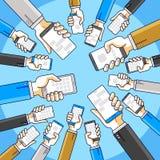Internet-Kommunikation und Tätigkeit, Leutehände, die Telefone halten und Apps, globales Netzwerk, moderne Kommunikation, Bote ve vektor abbildung