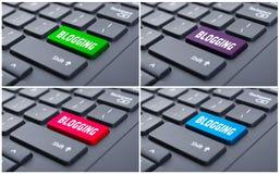 Internet-Kommunikationskonzept mit blogging Schlüssel Lizenzfreie Stockfotos