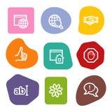Internet-Kommunikationsweb-Ikonen, Farbenpunkte Stockbilder