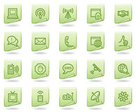 Internet-Kommunikationsweb-Ikonen, grünes Dokument Stockfoto
