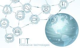 Internet Kontinentes Planeten-Erd-Amerikas USA des Sacheninnovations-Technologiekonzeptes Drahtloses Kommunikationsnetz IOT lizenzfreie abbildung