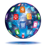 Internet-Konzept. Kugel. Anwendungsikonen. Lizenzfreie Stockfotografie
