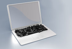Internet language variety concept. Laptop with many keys. Large resolution Royalty Free Stock Image