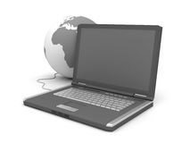 Internet - Laptop and globe sphere Stock Photo