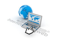 Internet - Laptop and globe sphere Royalty Free Stock Photo