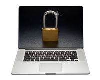 Internet laptop security, isolated Royalty Free Stock Photography