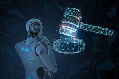 Internet law concept. With 3d rendering ai robot with gavel judge vector illustration