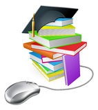 Internet learning concept. Online education, training or learning concept, a computer mouse connected to a stack of books with graduation cap on it Royalty Free Stock Photo