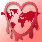 Internet-Leck Heartbleed mit Weltkarte Stockfotografie