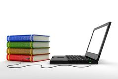 Internet library. Upload and downloading knowledge from internet Stock Image