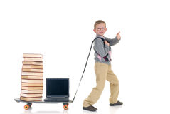 Internet library boy surfing Stock Photography