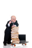 Internet library dwarf surfing Royalty Free Stock Images