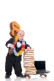 Internet library dwarf surfing Royalty Free Stock Photos