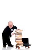 Internet library dwarf surfing Stock Photo