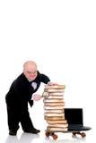 Internet library dwarf surfing Stock Photo