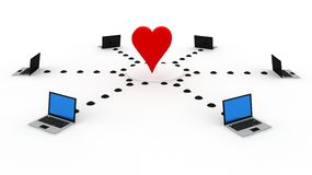 Internet love. In 3D style Royalty Free Stock Photos