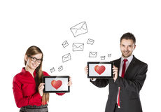 Internet love. Funny love in social media and internet communication Stock Photography