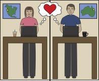 Internet love cartoon Stock Image