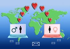 Internet Love concept Stock Images