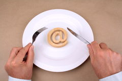 Internet for lunch Royalty Free Stock Images