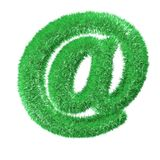 Internet mail sign. Green grass internet mail sign isolated over white Stock Images