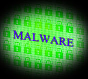 Internet Malware Means World Wide Web And Attack Stock Image