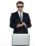 Internet man hacker piracy Stock Photo