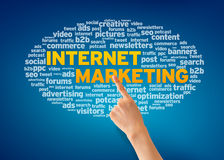 Internet Marketing. Hand pointing at an Internet Marketing word cloud on blue background