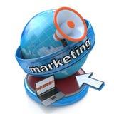 Internet-Marketing - Aardebol met megafoon en muiscurseur Royalty-vrije Stock Fotografie