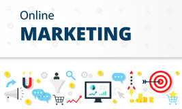 Internet marketing, advertising concept in flat style. Modern website infographics illustration image web banner. Royalty Free Stock Images