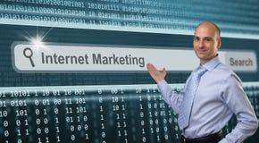 Internet marketing. Business man over internet marketing background Royalty Free Stock Images