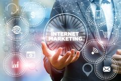Internet marketing in businessman hand . Stock Image