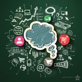 Internet marketing collage with icons on. Blackboard. Vector illustration Stock Image