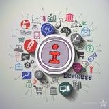 Internet-Marketing-Collage mit Ikonenhintergrund Lizenzfreies Stockfoto