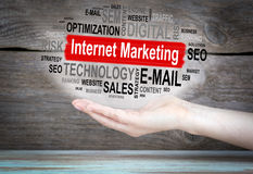 Internet Marketing concept. Word cloud in female hand.  Stock Photos