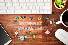 Internet Marketing concept with workstation Stock Image