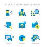 Internet-Marketing de Diensten Vlakke Pictogrammen vector illustratie