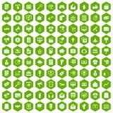 100 internet marketing icons hexagon green. 100 internet marketing icons set in green hexagon isolated vector illustration Stock Photo