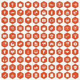 100 internet marketing icons hexagon orange. 100 internet marketing icons set in orange hexagon isolated vector illustration Royalty Free Stock Photography