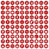 100 internet marketing icons hexagon red. 100 internet marketing icons set in red hexagon isolated vector illustration Royalty Free Stock Image