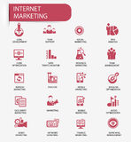 Internet Marketing icons,Red version.  Royalty Free Stock Image