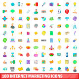 100 internet marketing icons set, cartoon style Royalty Free Stock Photos