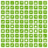 100 internet marketing icons set grunge green. 100 internet marketing icons set in grunge style green color isolated on white background vector illustration Stock Photo