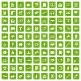 100 internet marketing icons set grunge green. 100 internet marketing icons set in grunge style green color isolated on white background vector illustration vector illustration