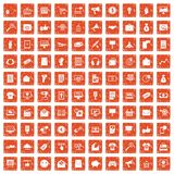 100 internet marketing icons set grunge orange. 100 internet marketing icons set in grunge style orange color isolated on white background vector illustration Vector Illustration