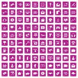 100 internet marketing icons set grunge pink. 100 internet marketing icons set in grunge style pink color isolated on white background vector illustration Stock Illustration