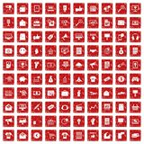 100 internet marketing icons set grunge red. 100 internet marketing icons set in grunge style red color isolated on white background vector illustration Royalty Free Stock Photo