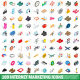 100 internet marketing icons set. In isometric 3d style for any design vector illustration Stock Images