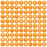 100 internet marketing icons set orange. 100 internet marketing icons set in orange circle isolated on white vector illustration Royalty Free Stock Images